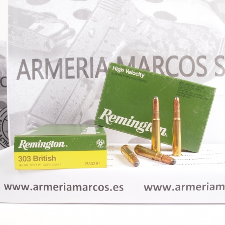 Municion Remington C/303 British SP 180 GR.