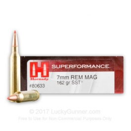 MUNICION HORNADY C/7 MM.REM.MAG. SST 162 GR. (SUPERFORMANCE)