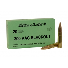 MUNICION SELLIER BELLOT C/300 AAC BLACK FMJ 124 GR.