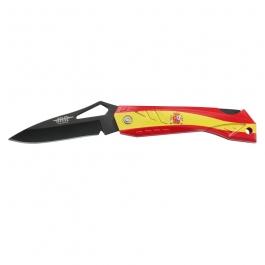 Navaja JKR, hoja pavonada de acero inoxidable de 7,5 cm, mango de ABS con la bandera de Españ